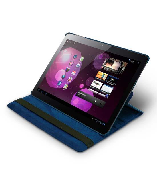 Roterende beschermcase voor Samsung Galaxy Tab 1 en 2 donkerblauw