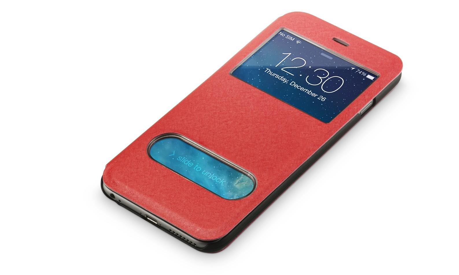 Beschermhoes met vensters iPhone 6-6s plus rood