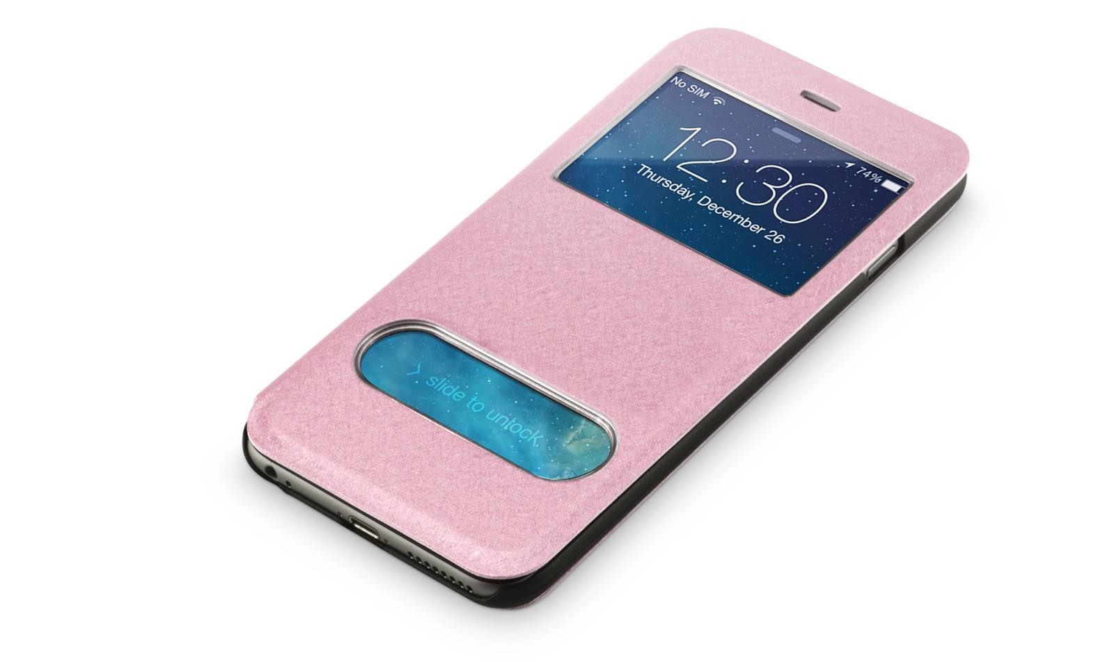 Beschermhoes met vensters iPhone 6-6s Plus Roze