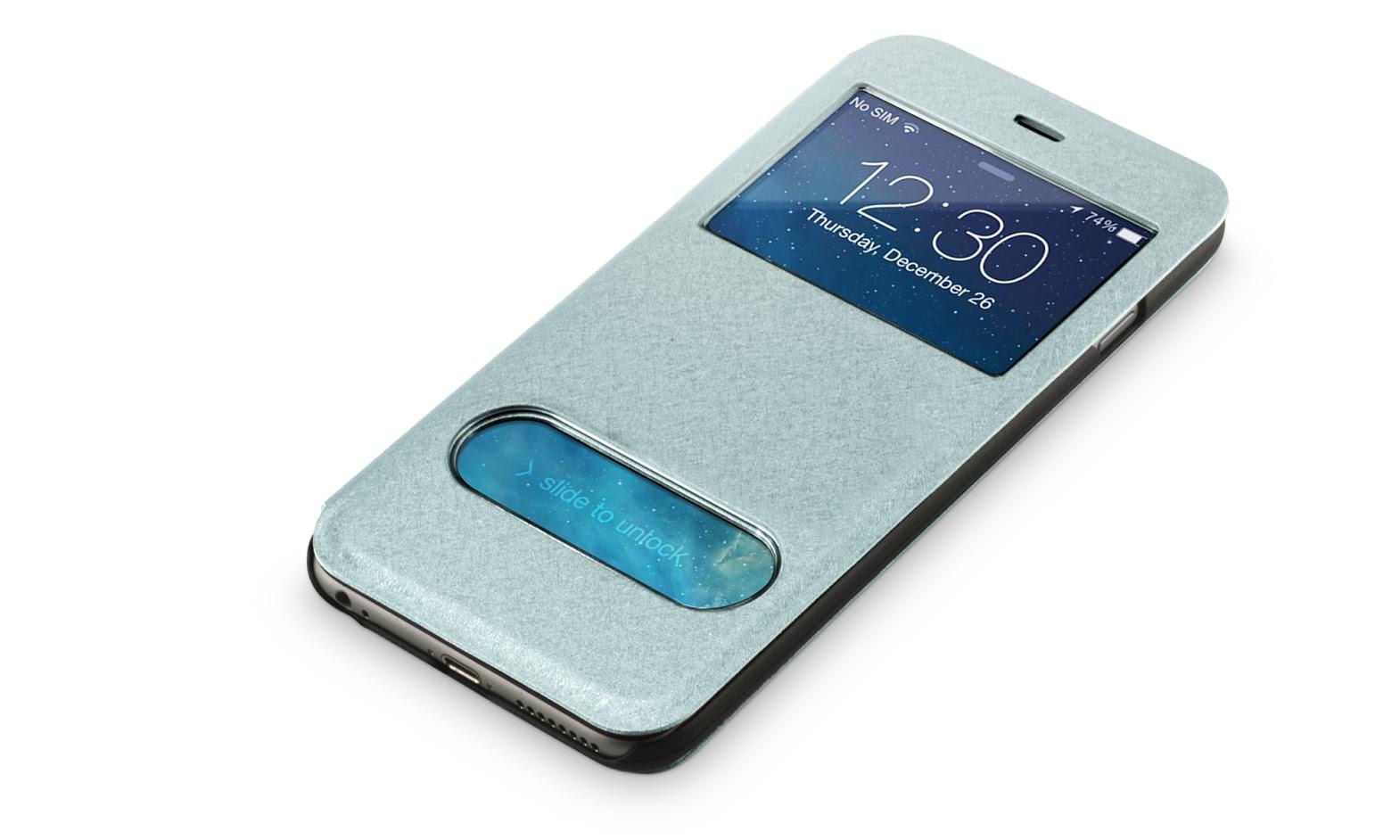 Beschermhoes met vensters iPhone 6-6s plus lichtblauw