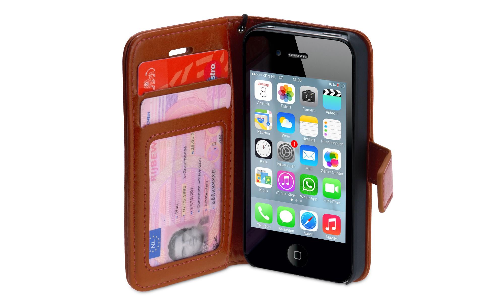 Wallet ID Case iPhone 4-4S bruin