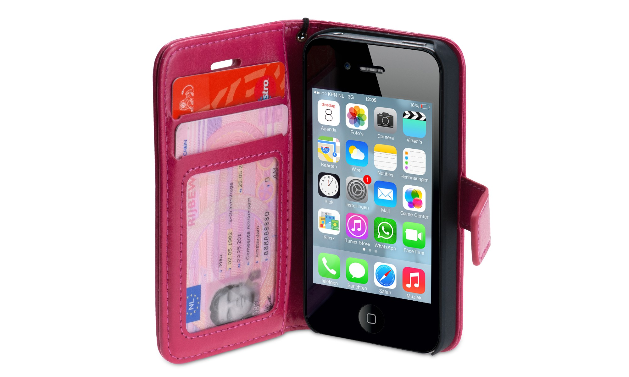 Wallet ID Case iPhone 4-4S roze