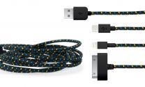 3-in-1 gevlochten kabel zwart