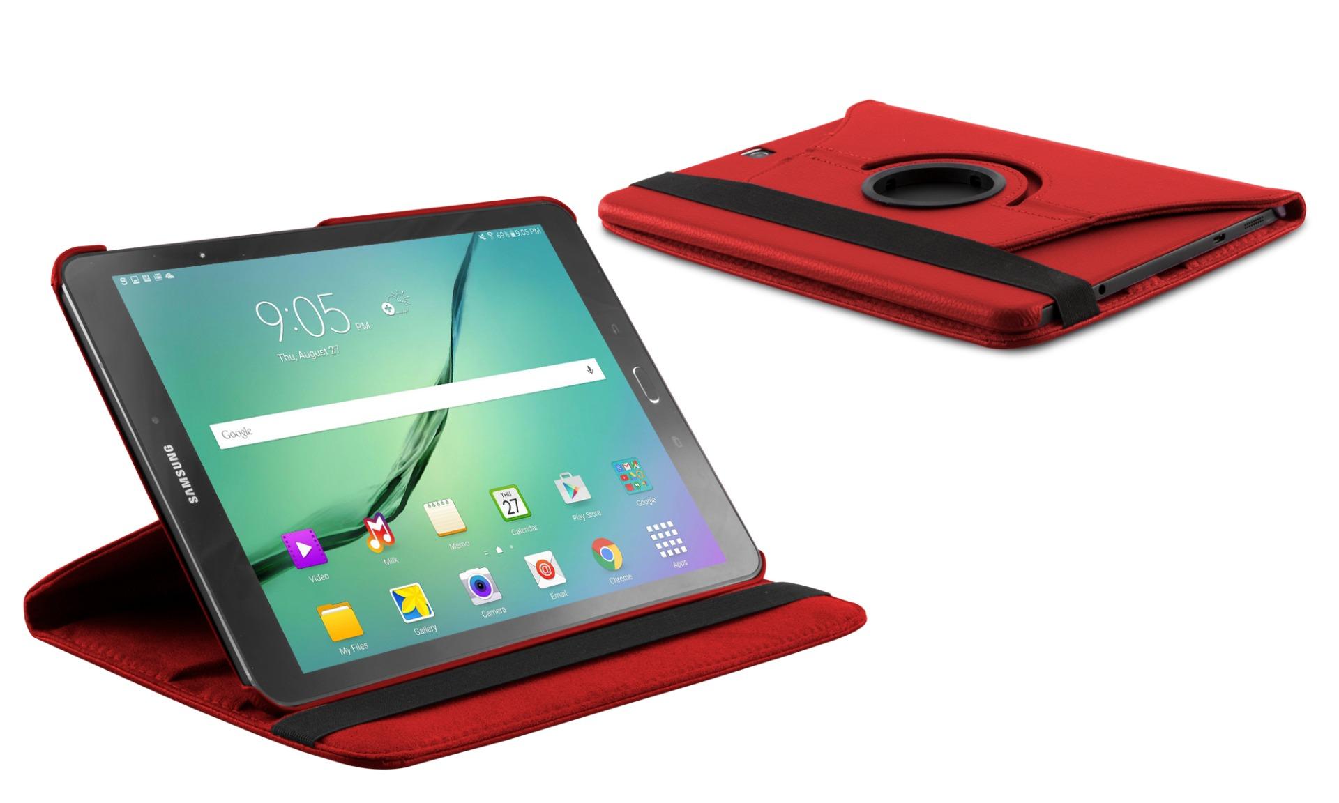Roterende beschermcase voor Samsung Galaxy Tab S2 9.7 rood