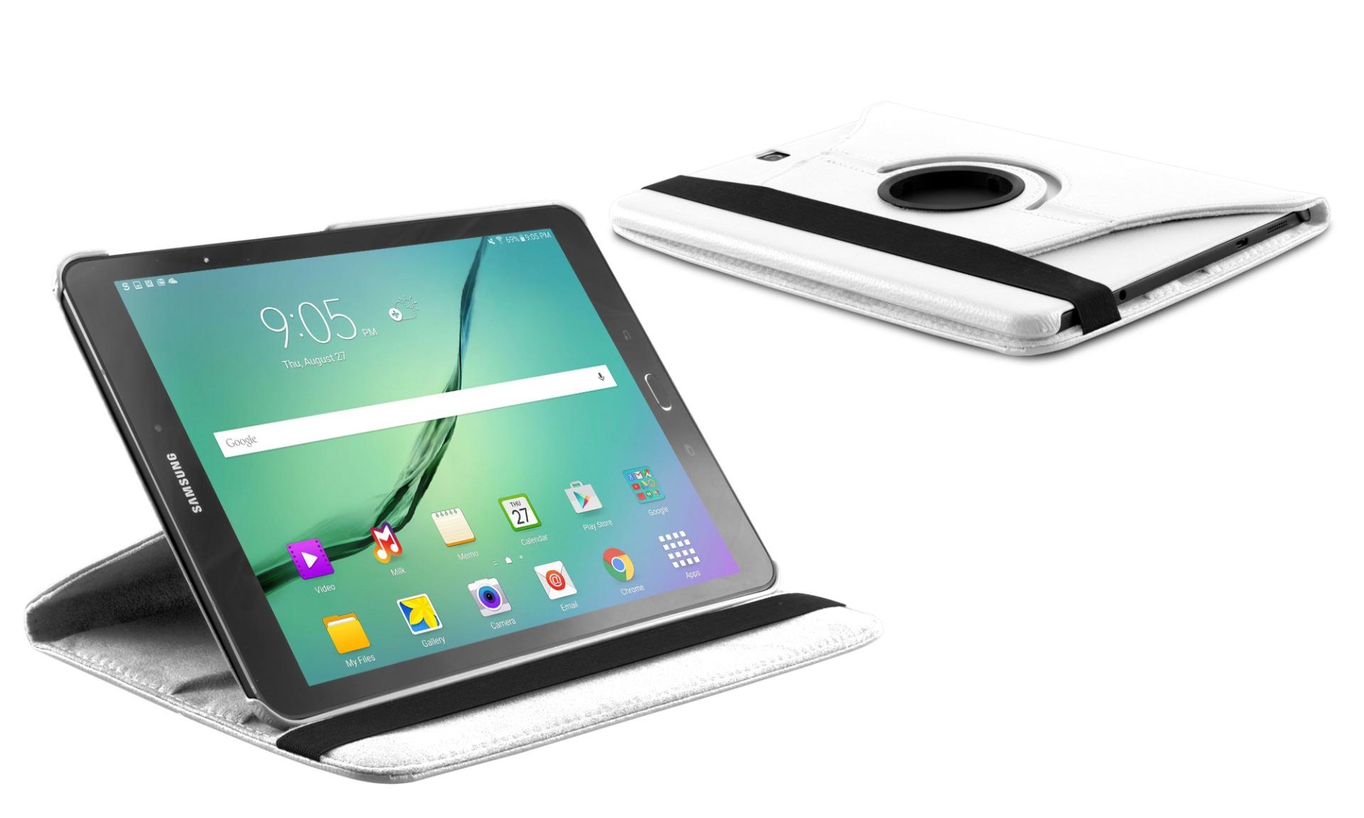 Roterende beschermcase voor Samsung Galaxy Tab S2 9.7 wit